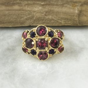 recycled yellow gold amethyst and rhodolite garnet vintage inspired right hand ring