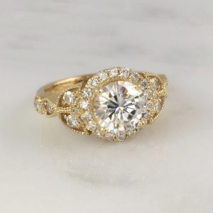 yellow gold moissanite right hand ring