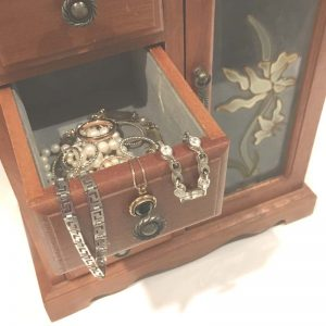 Jewellery Box with Open Drawer Displaying Contents