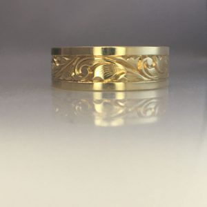 Hand Engraved Yellow Gold Wedding Ring